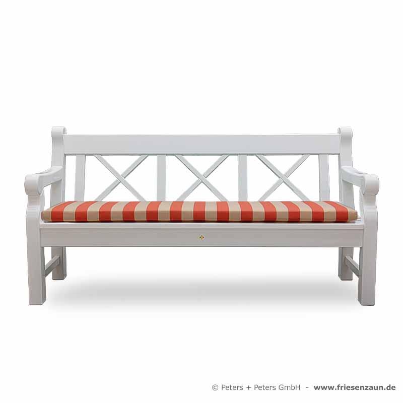 3er holzbank hampton weiss kissen blockstreifen terra das holztor. Black Bedroom Furniture Sets. Home Design Ideas