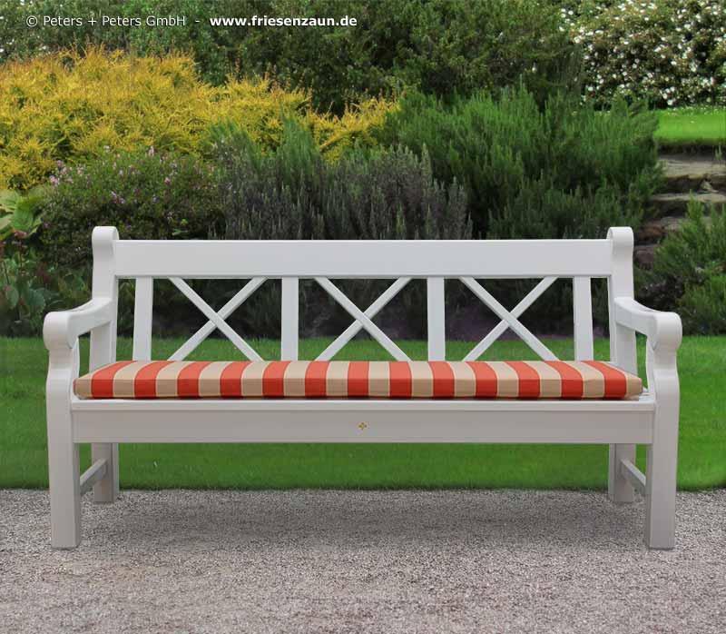 3er Gartenbank HAMPTON – Hartholz weiß | das-holztor